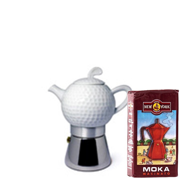 ANCAP GOLF 2 Tassen Espressokocher mit 250 g Caffé New York Mokka NY1000