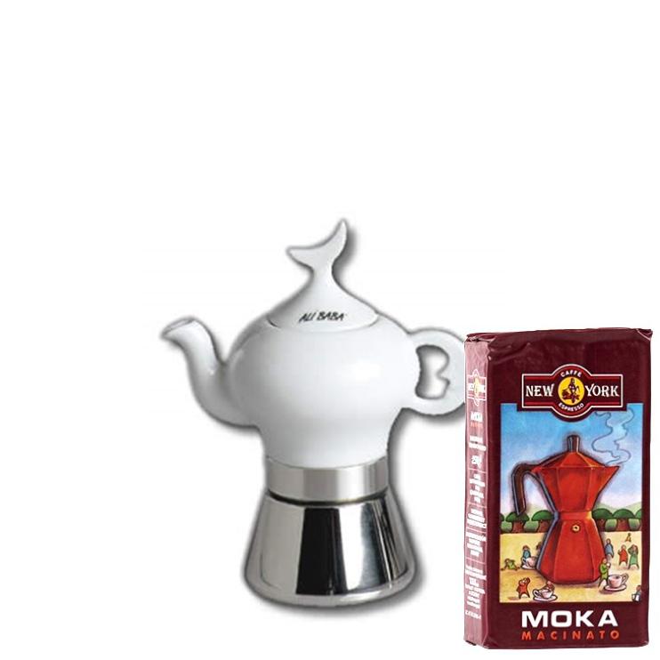 ANCAP ALI BABA 2 Tassen Espressokocher mit 250 g Caffé New York Mokka NY1000