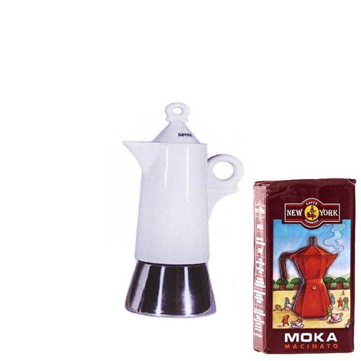 ANCAP GIOTTO 2 Tassen Espressokocher mit 250 g Caffe New York Mokka NY1000