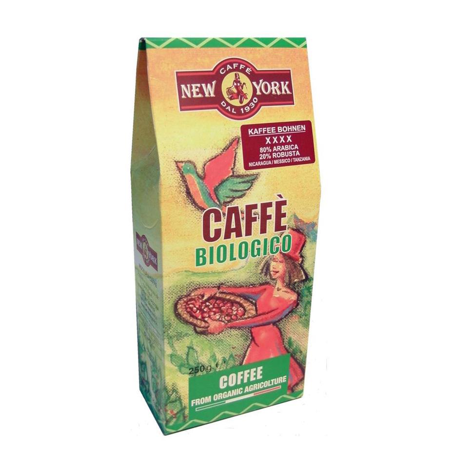 CAFFÈ NEW YORK BIO ganzeBohne, 250G 80% Arabica  aus Mexico /Nicaragua 20% Robusta aus Tansania