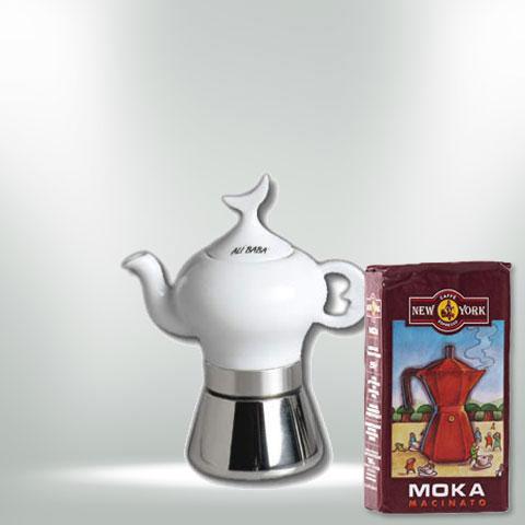 ANCAP ALI BABA Espressokocher mit 250 g Caffé New York Mokka NY1000