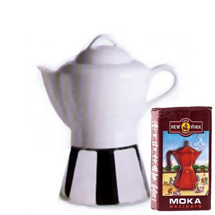 ANCAP NICOLE 4 Tassen Espressokocher  mit 250 g Caffé New York Mokka NY1000