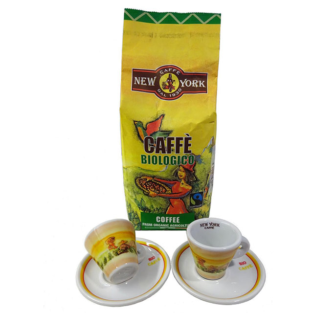 CAFFÉ NEW YORK BIO u. FAIR Trade ganze Bohne + 2 Espressotassen