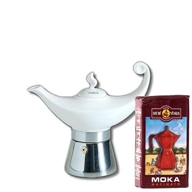 ANCAP ALADIN 2 Tassen Espressokocher mit 250 g Caffé New York Mokka NY1000