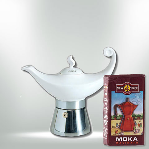 ANCAP ALADIN 4 Tassen Espressokocher  mit 250 g Caffé New York Mokka NY1000
