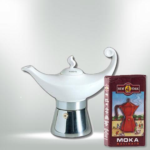 ANCAP ALADIN Espressokocher mit 250 g Caffé New York Mokka NY1000