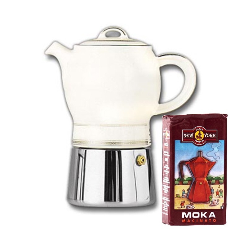 ANCAP CARINA 4 Tassen Espressokocher  mit 250 g Caffé New York Mokka NY1000